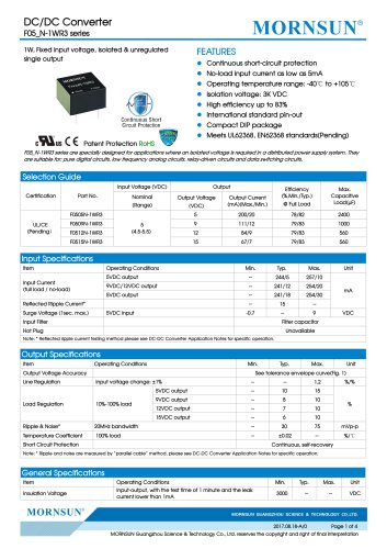 F05_N-1WR3 series--1W, Fixed input voltage, isolated & unregulated single output