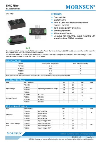 FC-xxxD / 4:1 /2:1 input / Target dc/dc converter