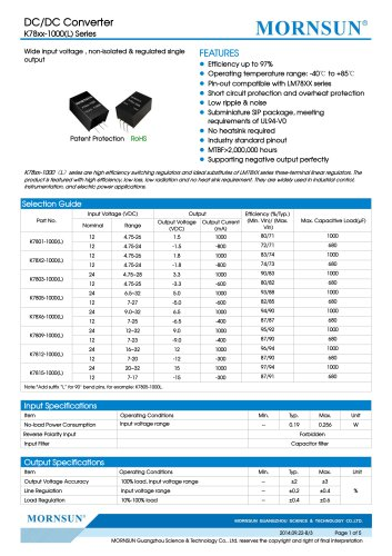 K78xx-1000(L) / DC-DC converter / 1000mA current output / non-isolated