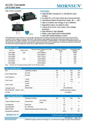 MORNSUN 10W 85-305VAC wide input AC/DC converter LHE10-23Bxx