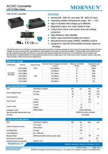 MORNSUN 10W compact 85-305VAC wide input AC/DC converter LDE10-23Bxx