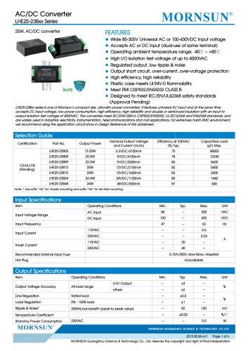 MORNSUN 25W 85-305VAC wide input AC/DC converter LHE25-23Bxx