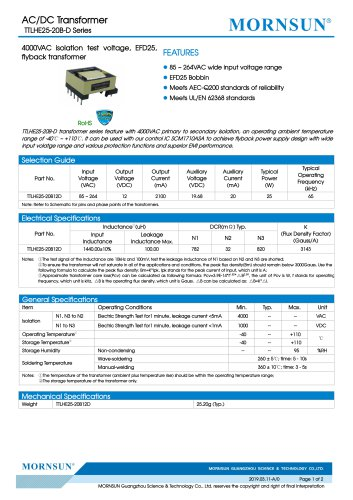MORNSUN 25W AC-DC Automotive Isolated Transformer TTLHE25-20B-D