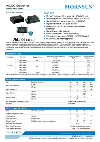 MORNSUN 5W 85-264VAC input AC/DC Converter LHE05-20Bxx