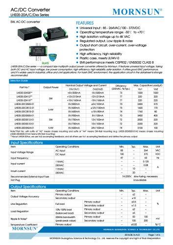 MORNSUN 5W 85-264VAC input triple outputs AC/DC Converter LHE05-20Cxxxx