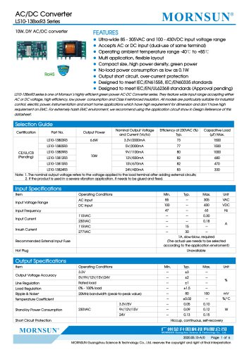 MORNSUN compact 10W AC DC converter LS010-13BxxR3-Flexible design for all-rounder applications