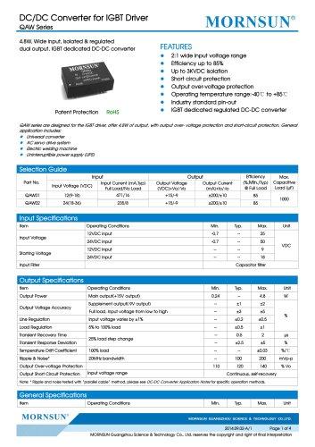 QAW / wide input dc dc converter for IGBT driver