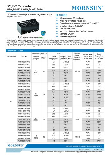 WRB_S-1WR2 / 2:1 /1watt DC-DC converter / 1500vdc isolation / SIP / modular / Regulated / Single output / compact / reliable