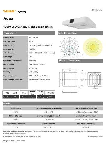Aqua 100W LED Canopy Light Specification