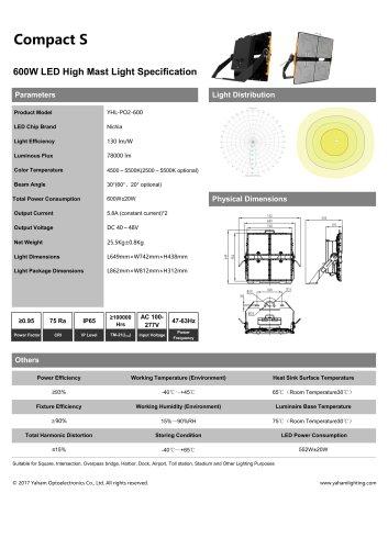Compact S LED flood light fixture| 600W led flood light specification