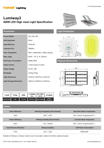 LED HIGH MAST LIGHT |400W Lumiway3 High mast light Specification