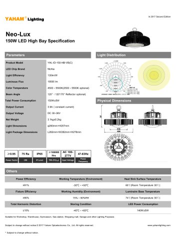 Neo-Lux 150W LED High Bay Specification