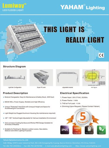 Yaham Lumiway I LED Flood light, Suitable for Parking lot , Mansion outdoor scene , Gas station