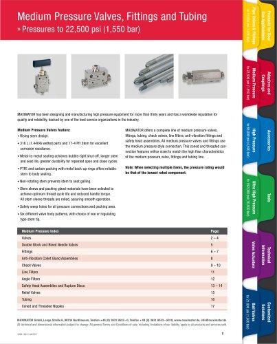 Pressures to 22,500 psi (1,550 bar)