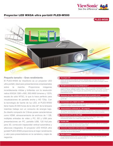 Proyector LED WXGA ultra portátil PLED-W500