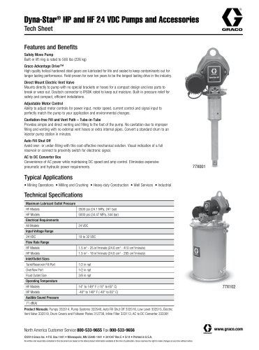 Dyna-Star® HP and HF 24 VDC Pumps and Accessories