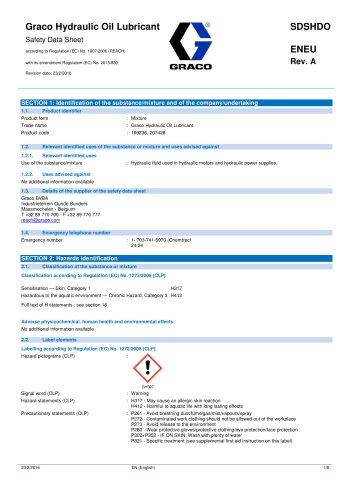 SDSHDOENEU-A, Hydraulic Oil Lubricant