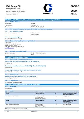 SDSIPOENEU-A ISO Pump Oil Safety Data Sheet