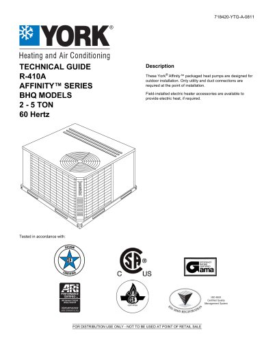 BHQ024 - 060 Affinity? R-410A Single Package Heat Pumps (Wichita Built)