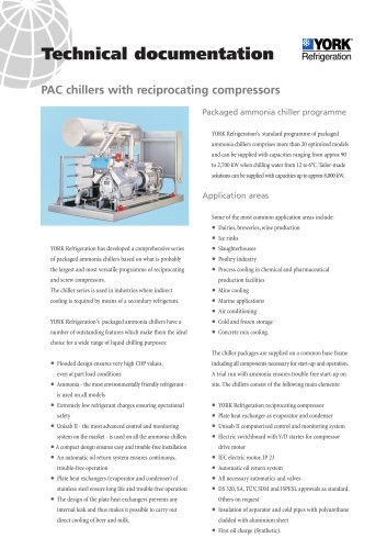 PAC chillers with reciprocating compressors