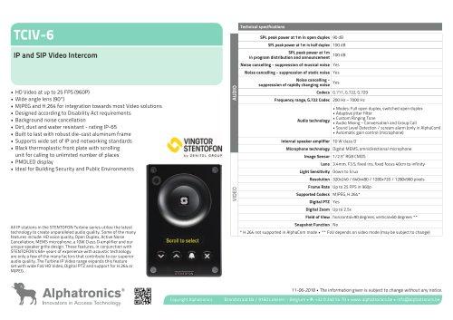 TCIV-6 IP and SIP Video Intercom