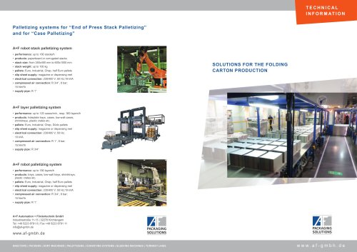 SOLUTIONS FOR THE FOLDING CARTON PRODUCTION