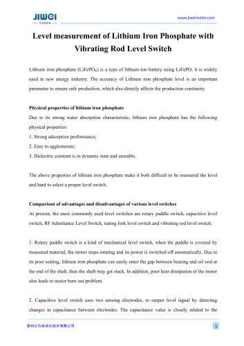 Level measurement of Lithium Iron Phosphate with Vibrating Rod Level Switch