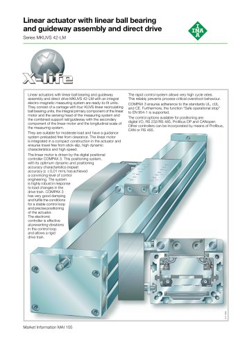 Linear actuator with linear ball bearing and guideway assembly and direct drive (MAI 105)