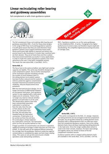 Linear recirculating roller bearing and guideway assemblies (MAI 92)