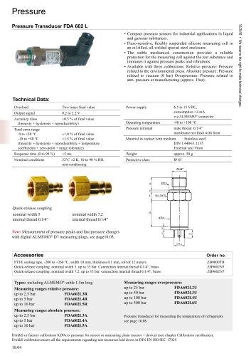 Pressure sensors FDA602L