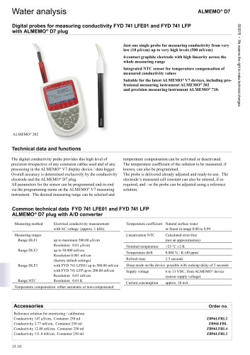 Water analysis D 741 LFE01 and FYD 741 LFP