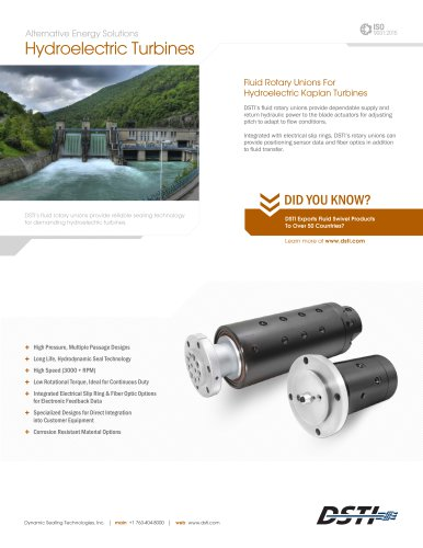 DSTI Sell Sheet - Hydroelectric Kaplan Turbines
