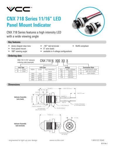 CNX 718 Series 11/16? LED  Panel Mount Indicator