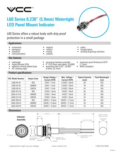 L60 Series 0.230? (5.9mm) Watertight  LED Panel Mount Indicator