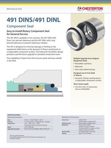 491 DINS and 491 DINL Component Seal