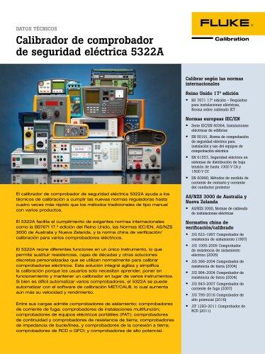 Calibrador de comprobador de seguridad eléctrica 5322A
