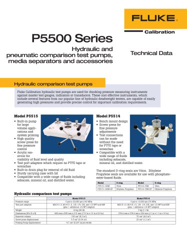 P5500 Series Hydraulic and pneumatic comparison test pumps, media separators and accessories