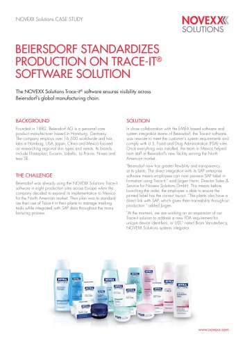 Beiersdorf standardizes production with help of TRACE-it data management solution