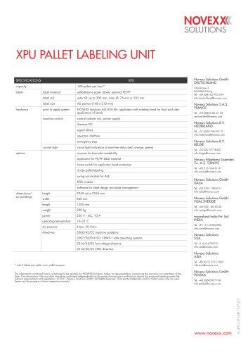 Pallet labeler XPU - specs