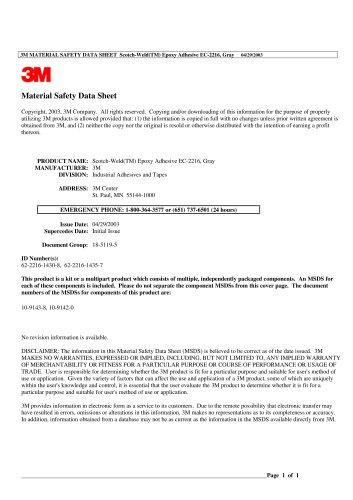 3M MATERIAL SAFETY DATA SHEET  Scotch-Weld(TM) Epoxy Adhesive EC-2216, Gray