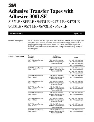 Adhesive Transfer Tapes with Adhesive 300LSE
