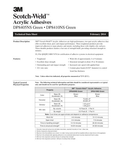 Scotch  Weld? Acrylic Adhesives DP8405NS Green ? DP8410NS Green