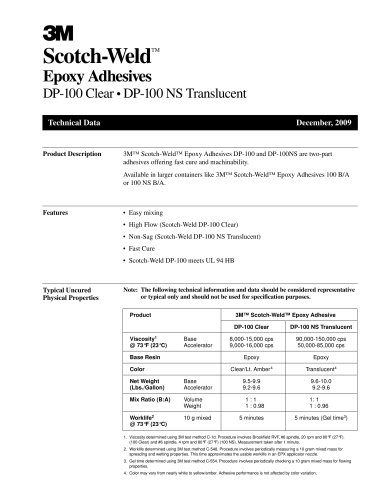 Scotch-Weld TM Epoxy Adhesives DP-100 Clear ? DP-100 NS Translucent