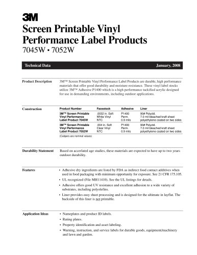 Screen Printable Vinyl Performance Label Products 7045W ? 7052W