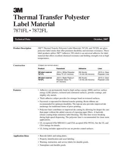 Thermal Transfer Polyester Label Material 7871FL ? 7872FL