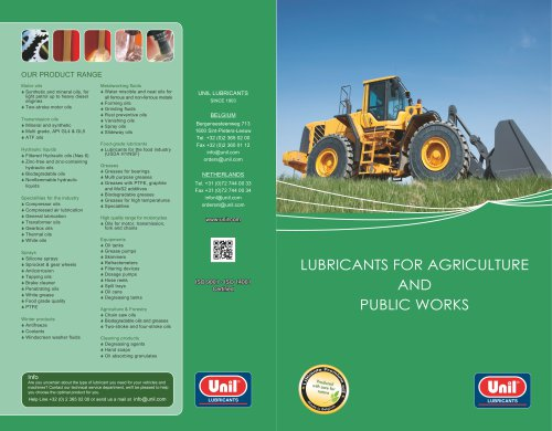 LUBRICANTS FOR AGRICULTURE AND PUBLIC WORKS