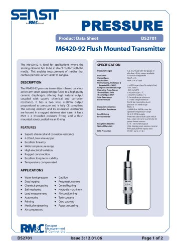 flush diaphragm pressure transmitter M6420-92