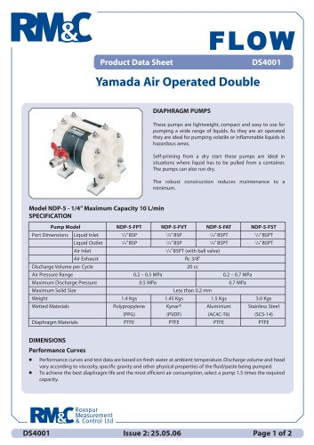Yamada Air Operated Double Diaphragm pump