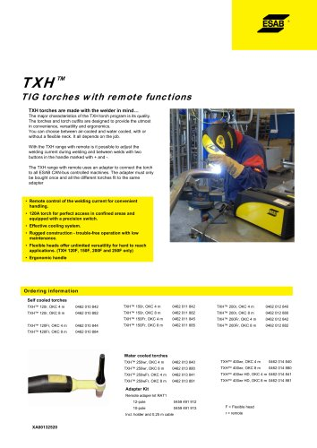 TXH™ TIG torcheswith remotefunctions