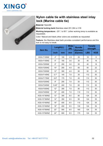 Nylon cable tie with stainless steel inlay lock (Marine cable tie)